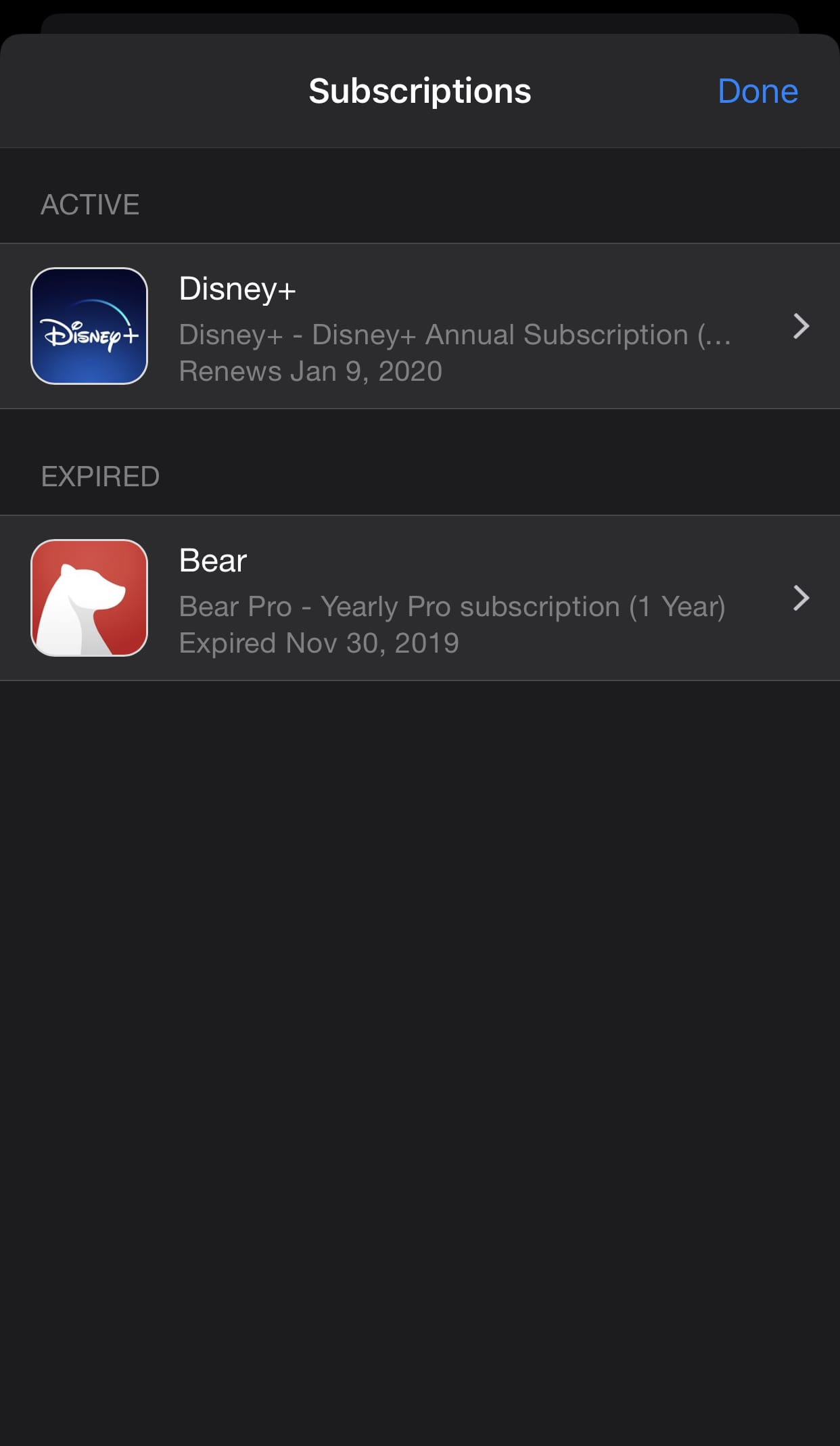 Subscription management in iOS
