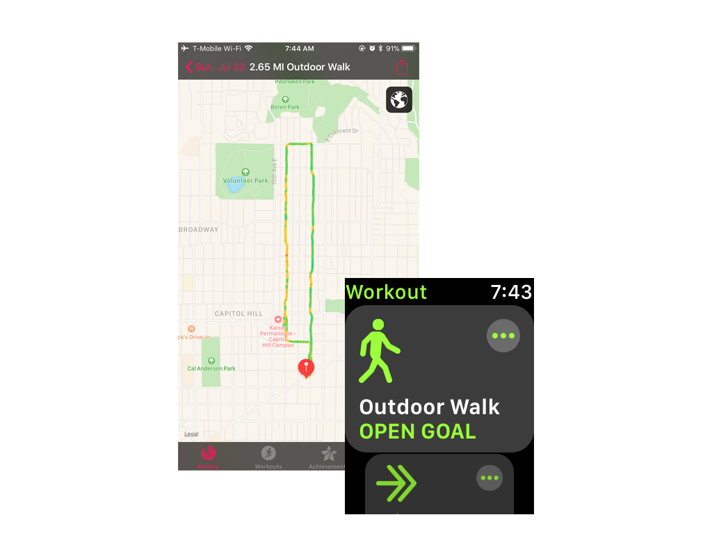 Apple Watch map and workout tracking