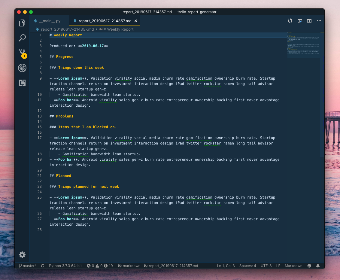 Screenshot of raw Markdown file in Visual Studio Code