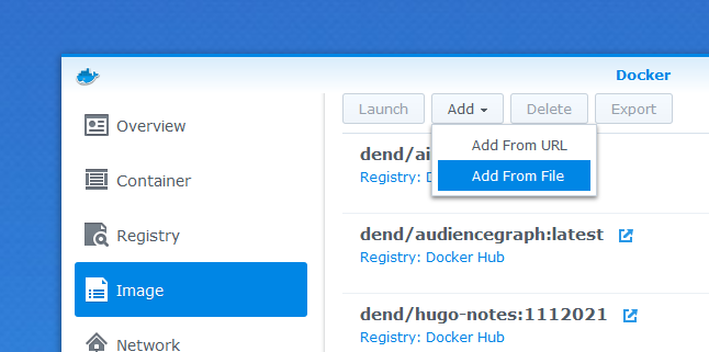 Adding an image from file on Synology NAS