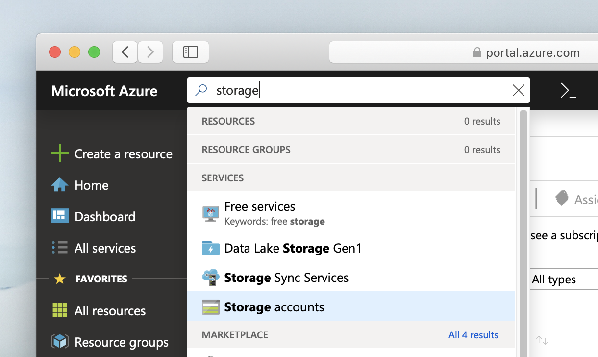 Searching for storage accounts in Azure Portal