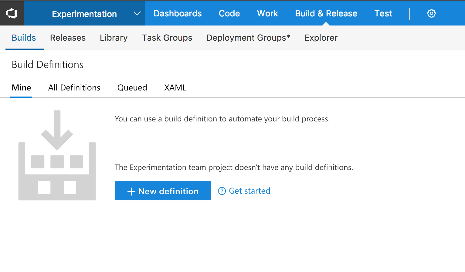 VSTS Build Definition View