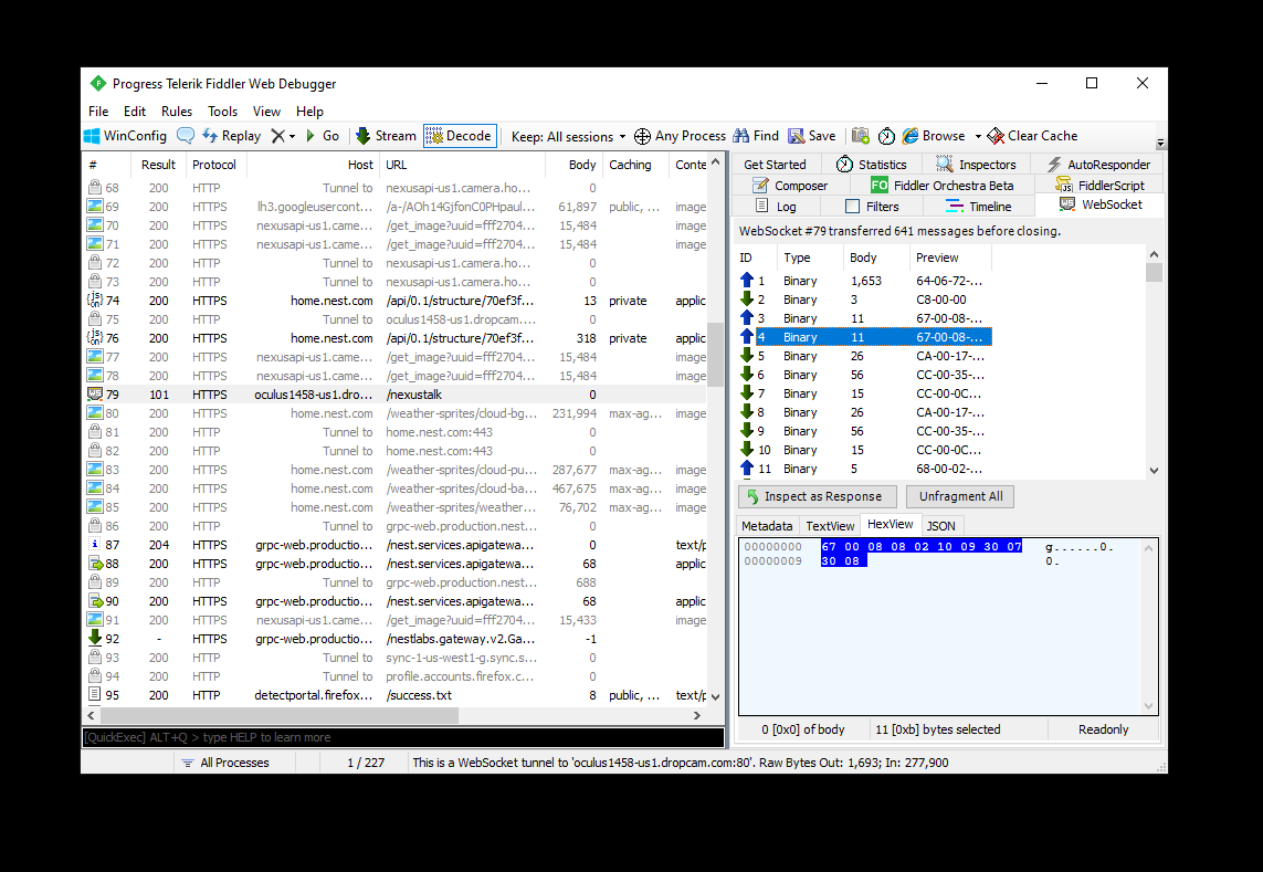 Example of WebSocket analysis with Fiddler