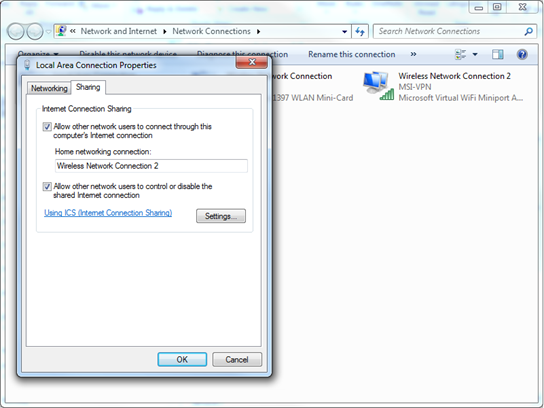 Windows network settings in Control Panel