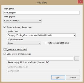 Adding an ASP.NET MVC view