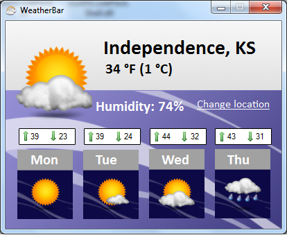 A screenshot of the WeatherBar application.