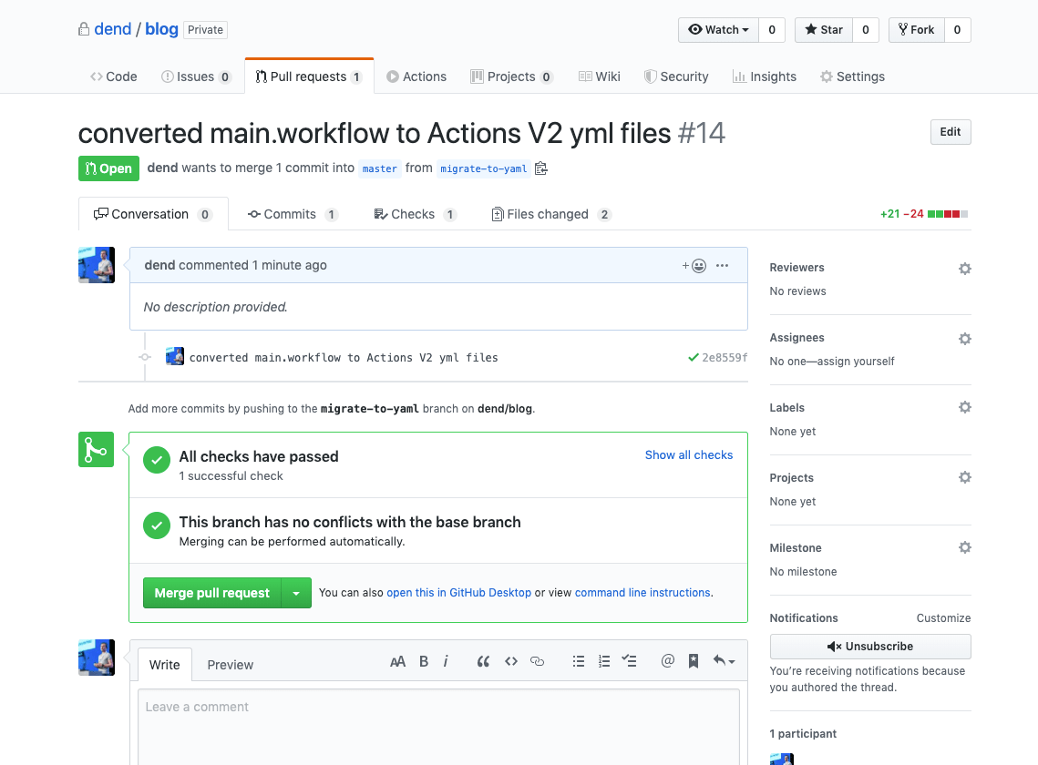 Pull request for new GitHub Actions