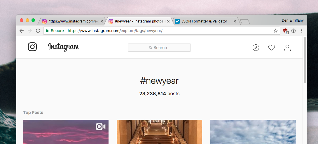 New year hashtag on Instagram