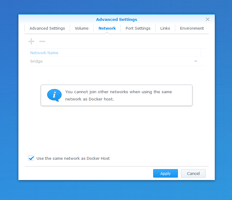 Configuring network on Synology