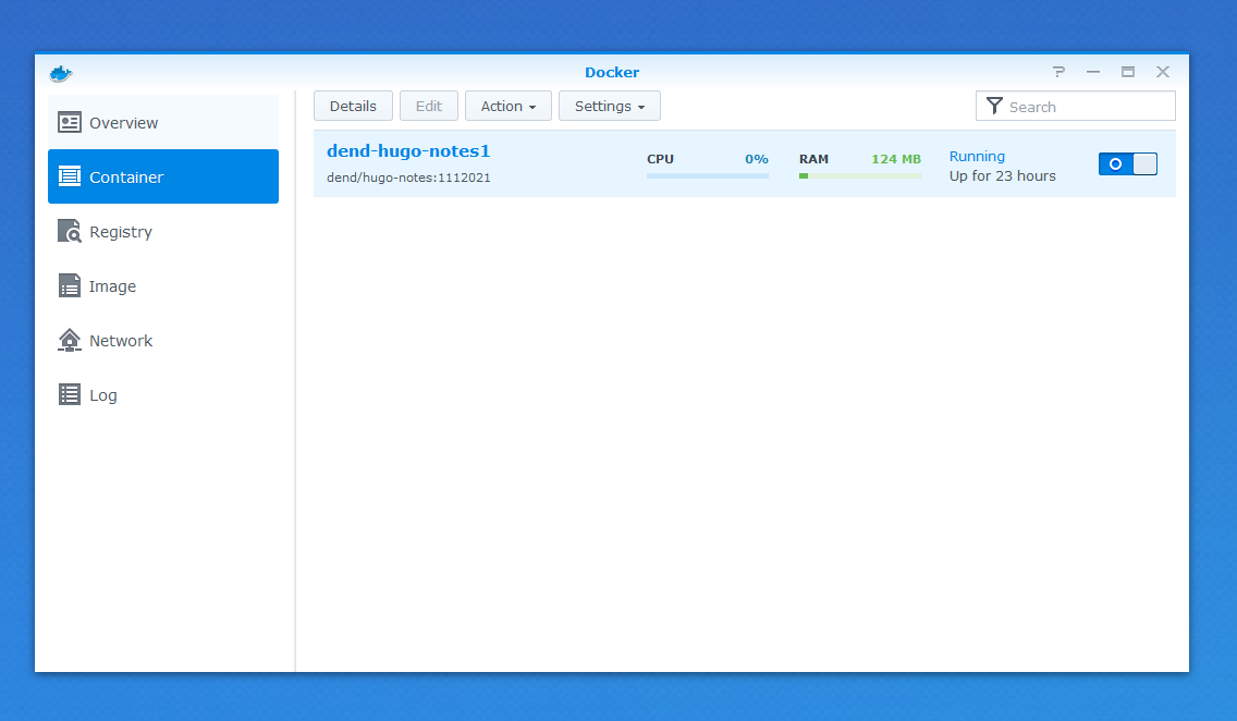 Running a container in Docker on Synology