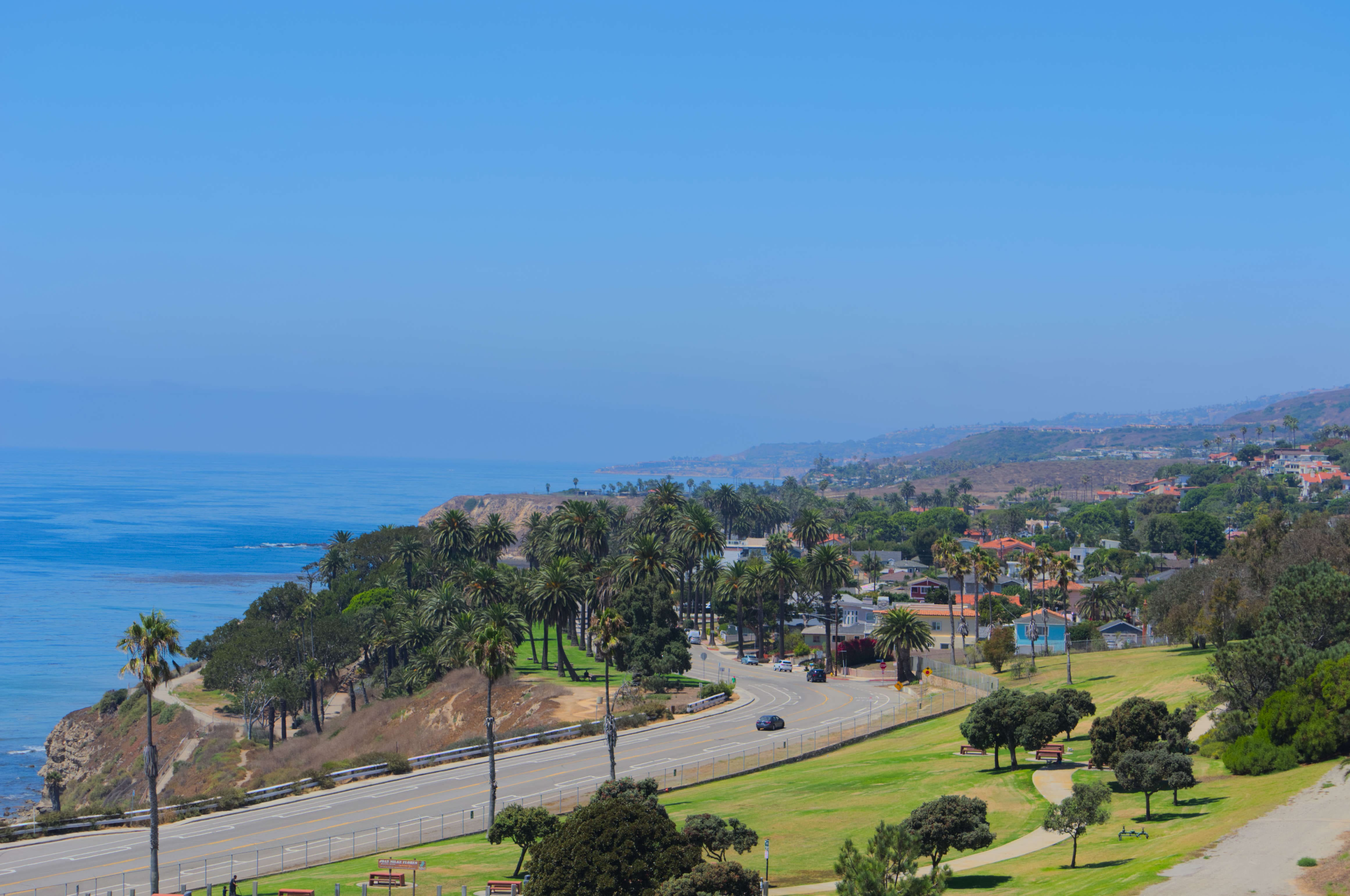 View of the California coast towards the Royal Palms State Beach from the Korean Bell of Friendship