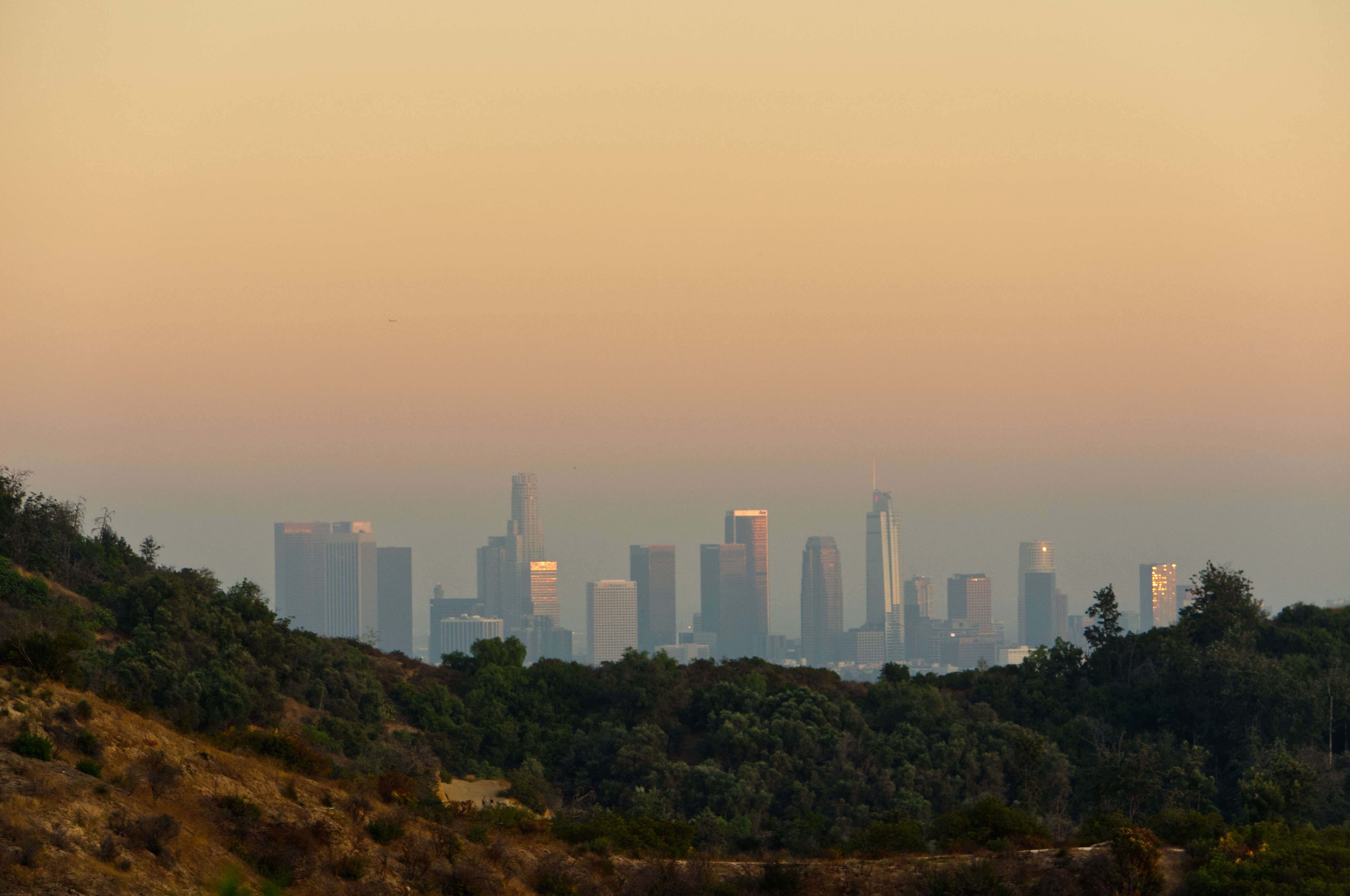 Another view of downtown Los Angeles at dusk, seen from the trail in Griffith Park