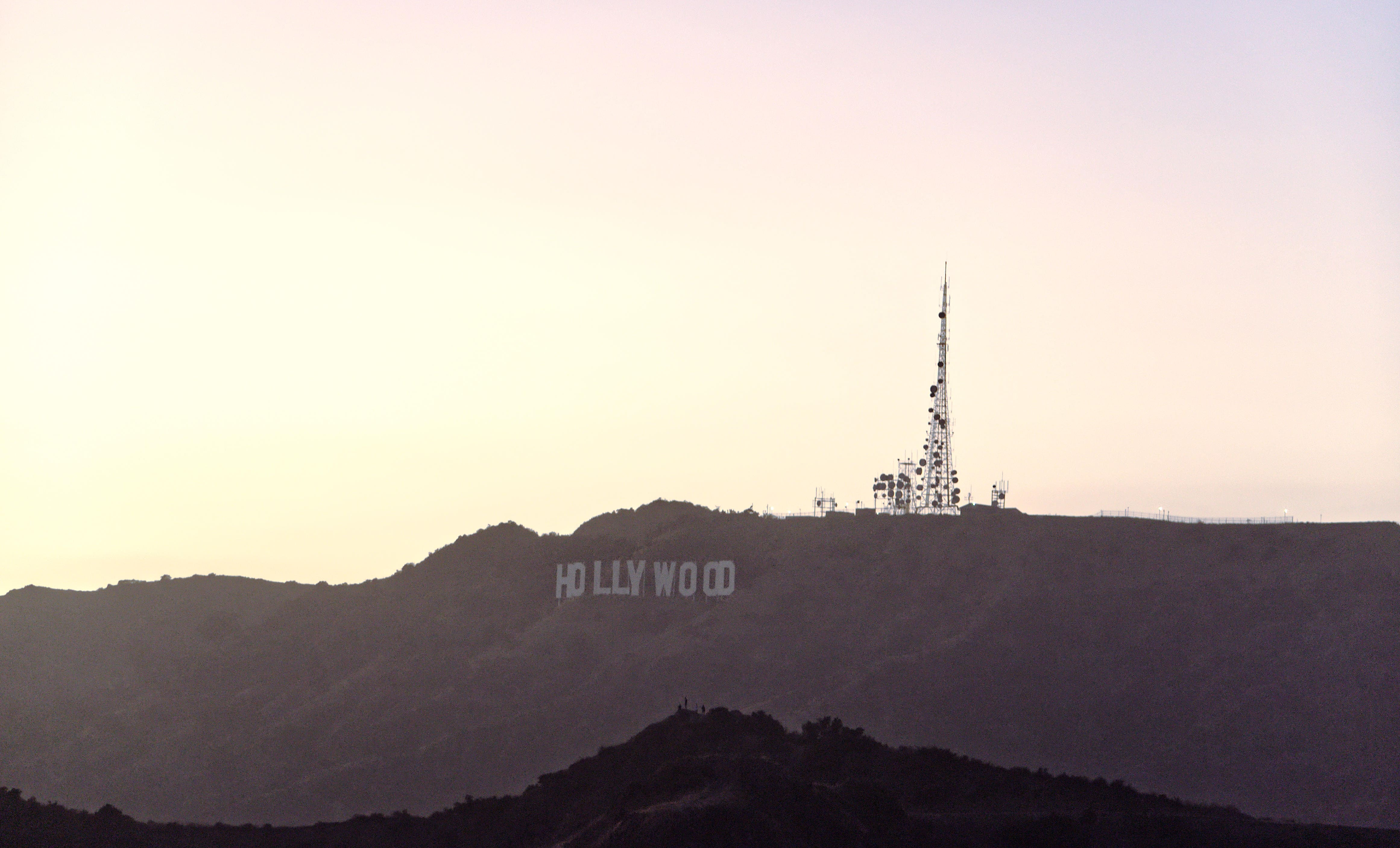 The Hollywood sign seen from the Griffith Observatory in Los Angeles, CA