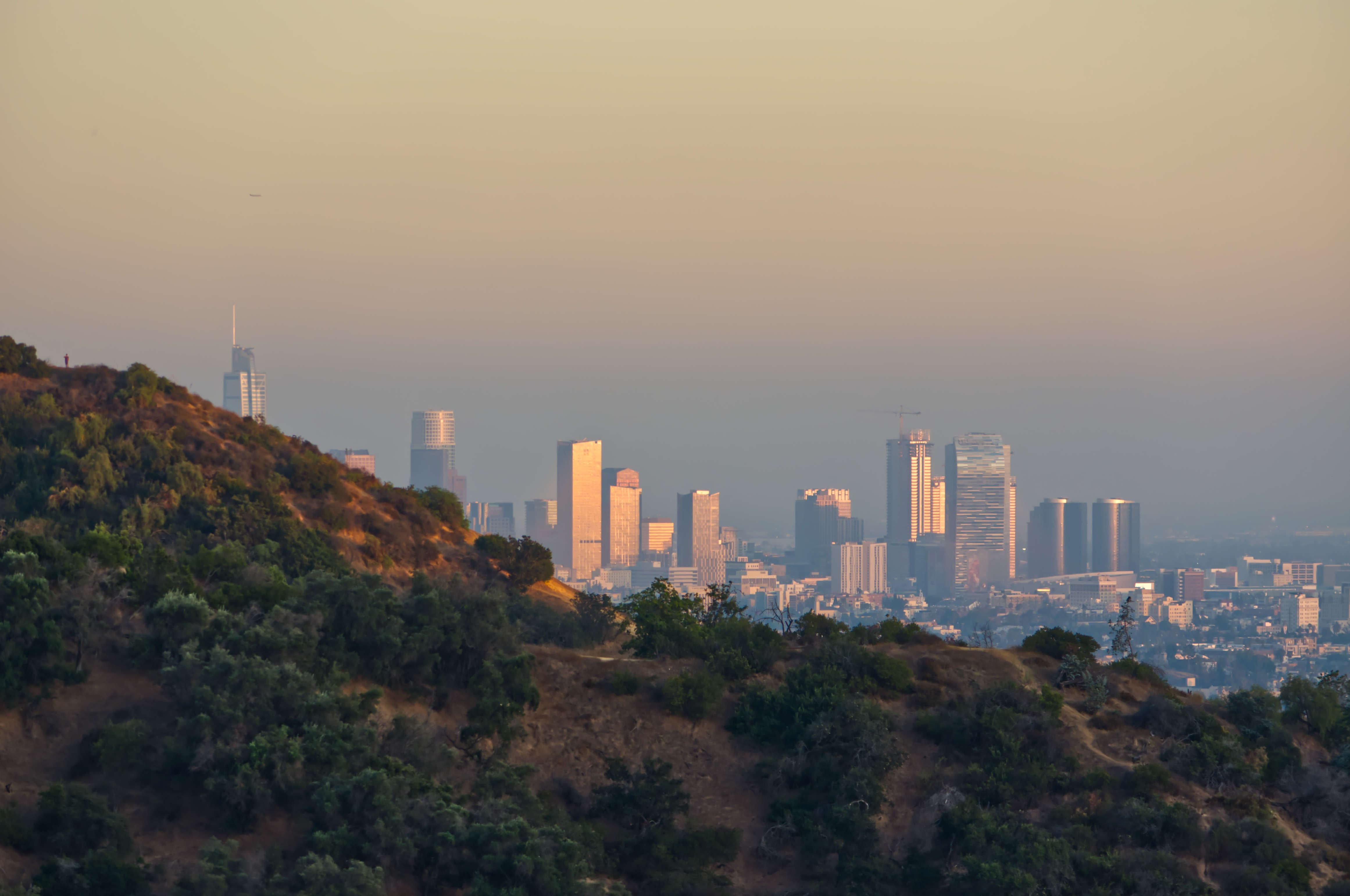 Downtown Los Angeles at dusk, seen from the trail in Griffith Park