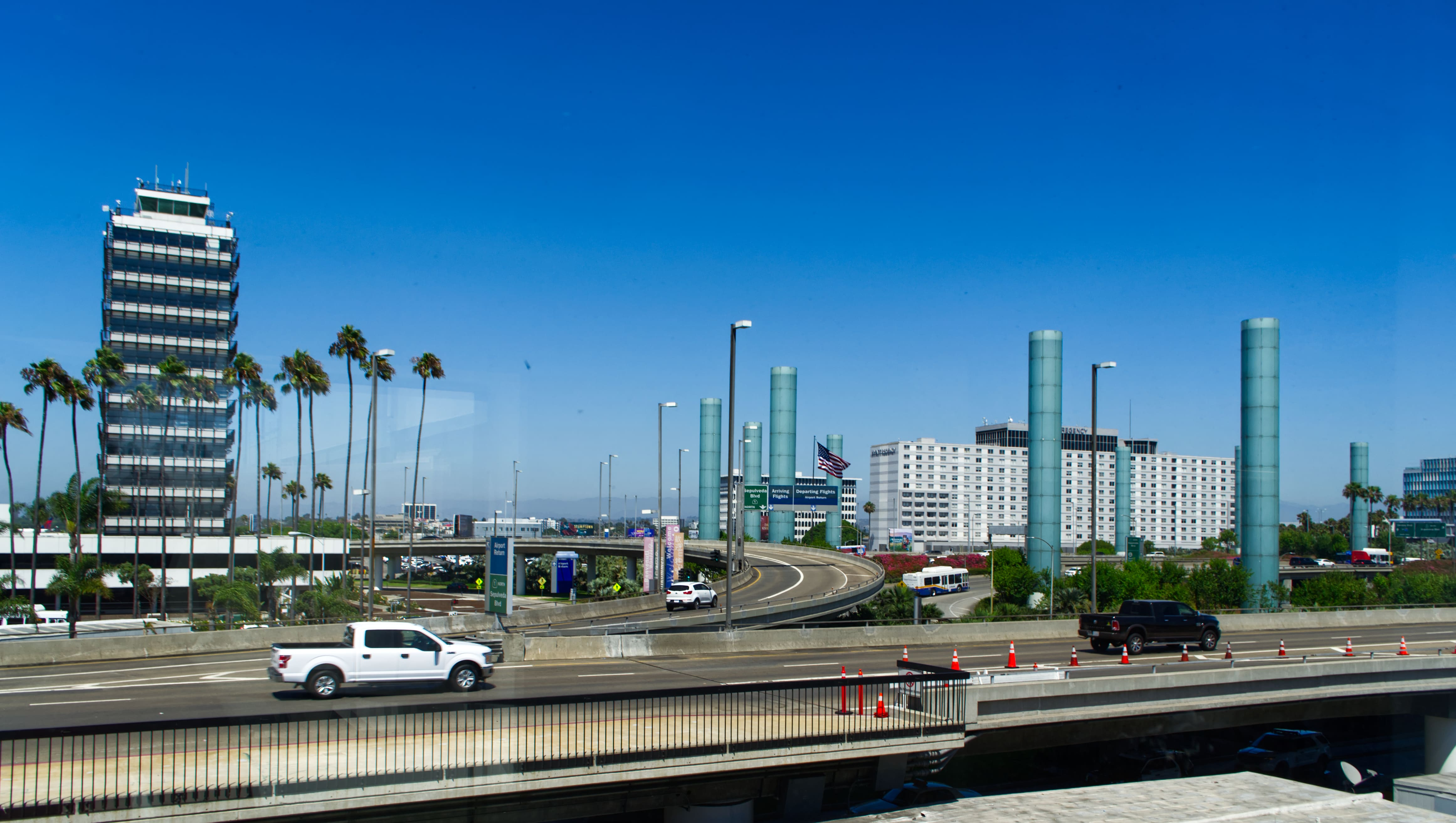 View over the highway entrance to Los Angeles International Airport