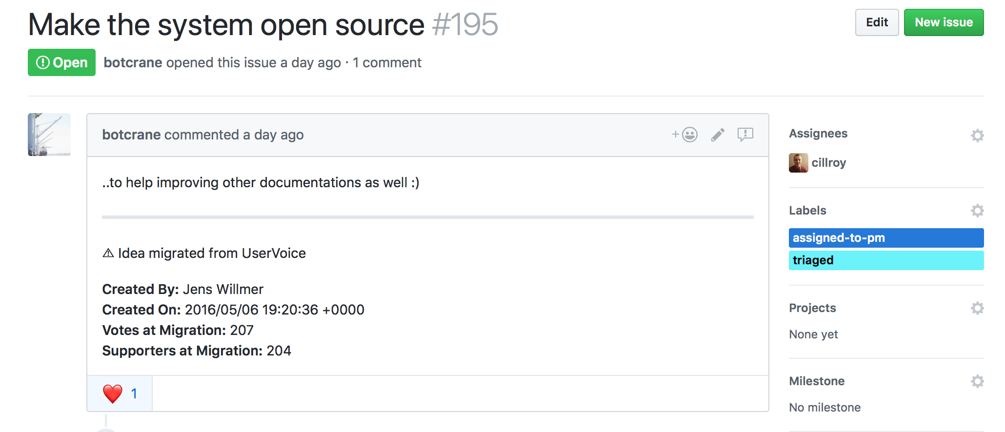 New GitHub issue migrated from UserVoice