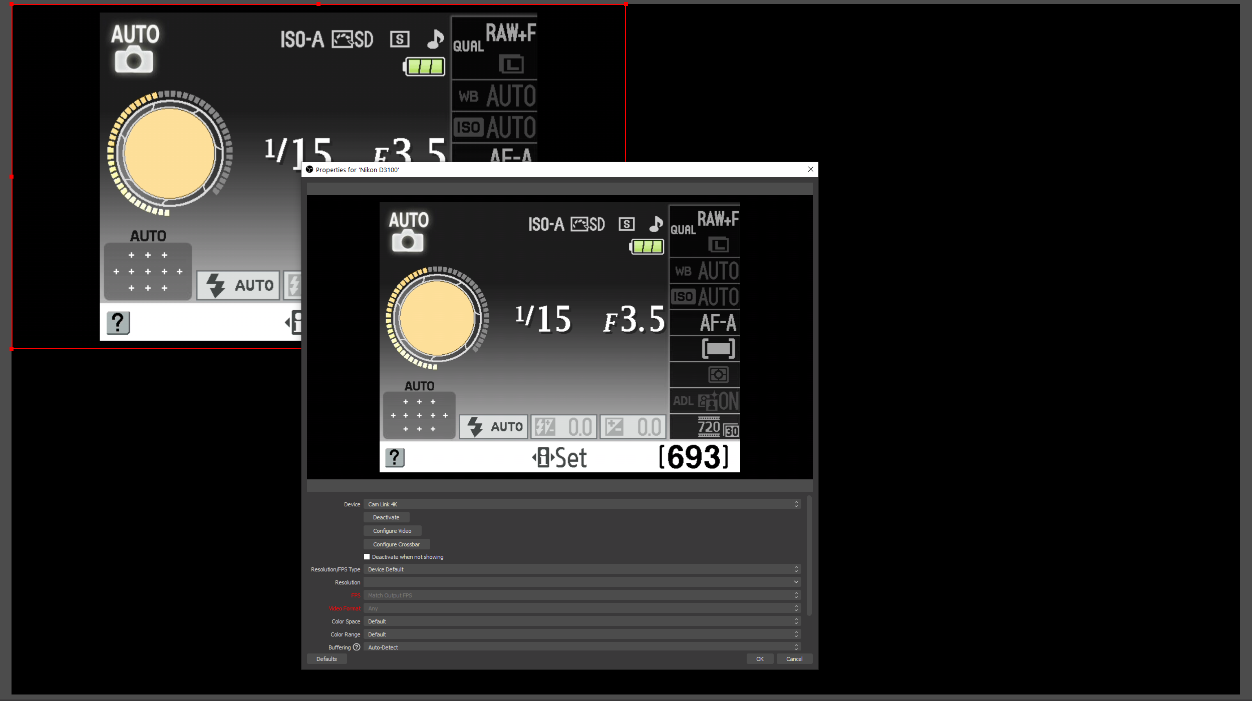 Seeing the camera output in OBS Studio