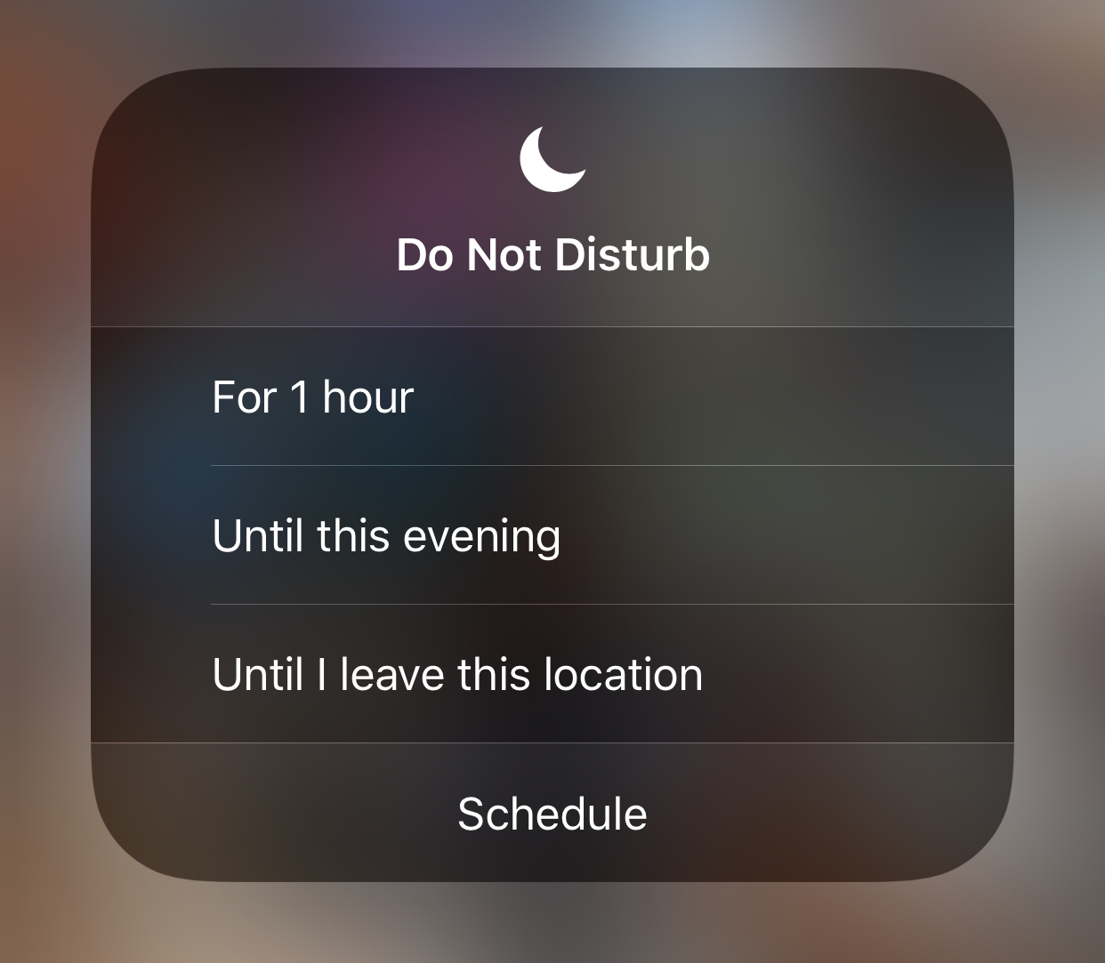 "A screenshot of the ""do not disturb"" screen on iOS"