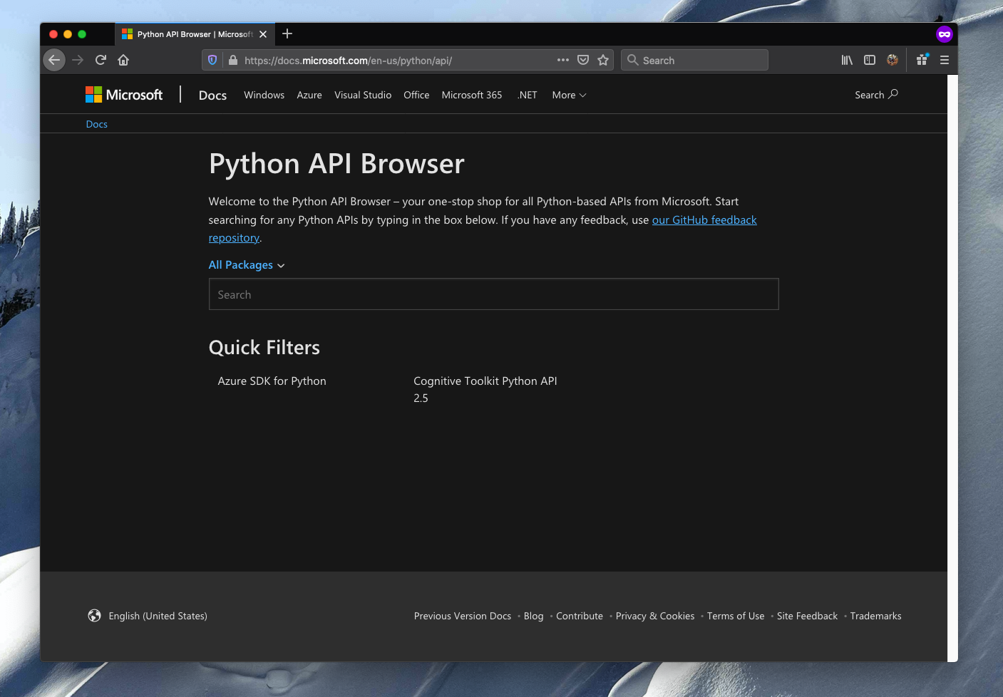A screenshot of the Python API Browser.