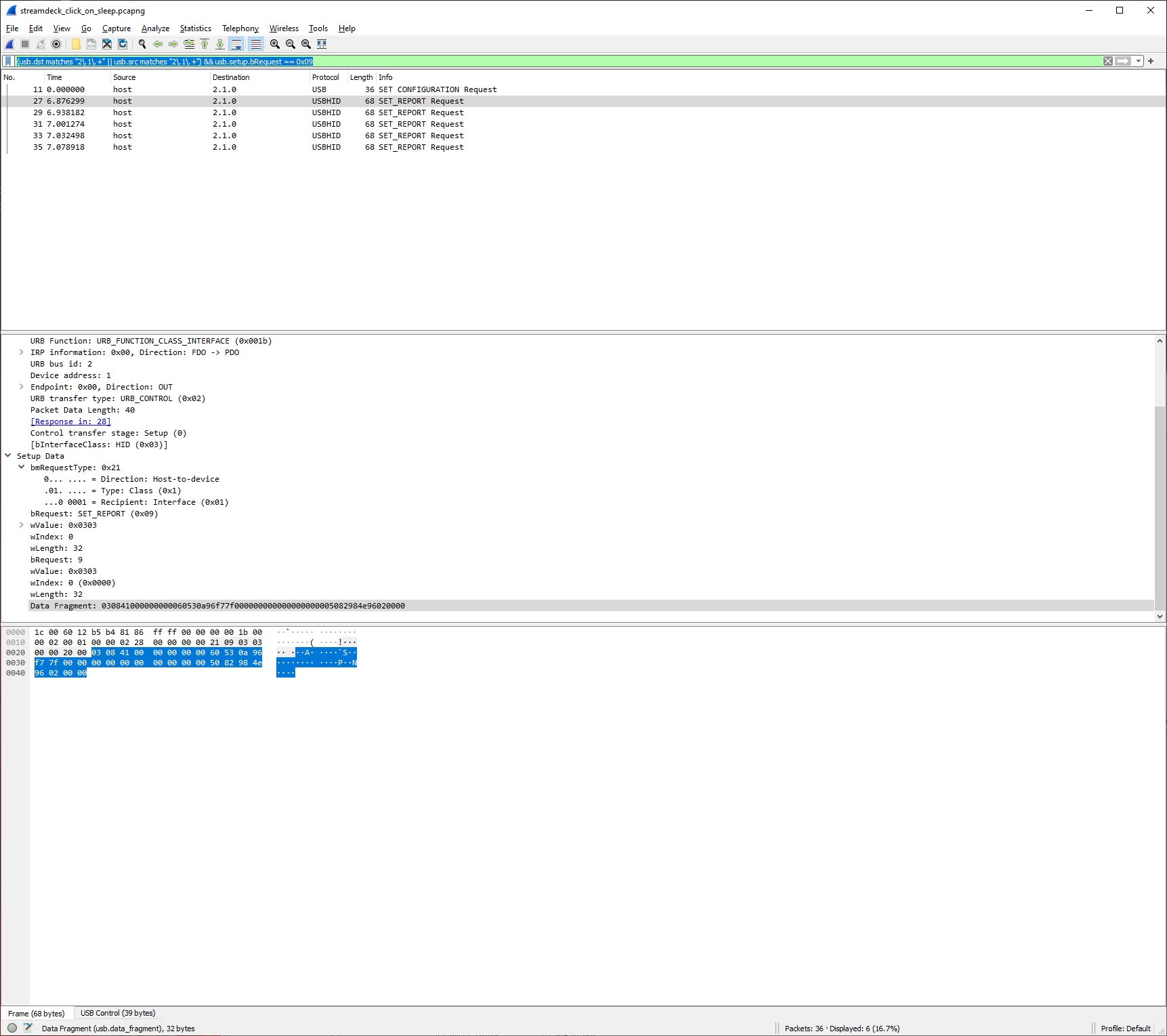 SET_REPORT in Wireshark while inspecting USB traffic