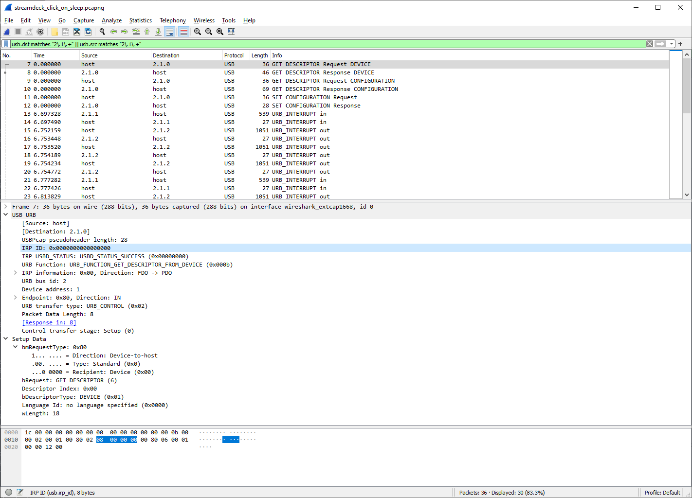 Filtered view in Wireshark