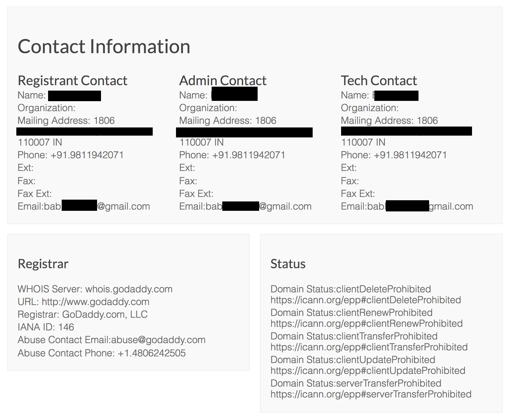 WHOIS information on domain owner