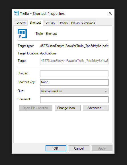 Shortcut properties in Windows Explorer