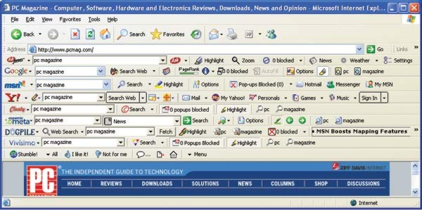 A screenshot of a web browser with way too many toolbars